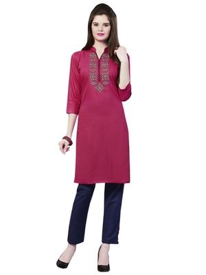 Pink rayon embroidered kurti