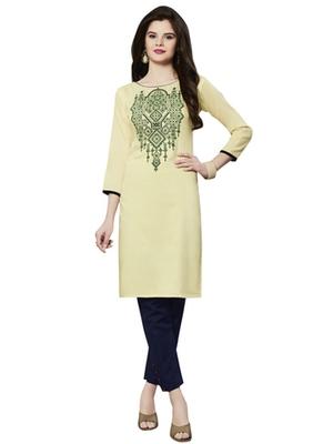 Cream rayon embroidered kurti