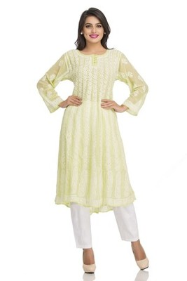 Ada green faux georgette Hand embroidered lucknow chikan kurti
