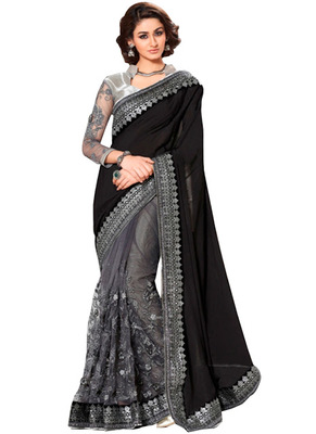 Black and Grey embroidred georgette saree with blouse