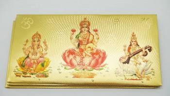 Gold Foil Envelops with Lakshmi