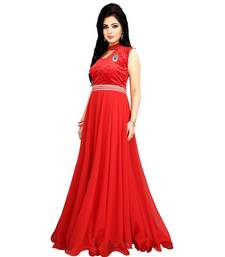 Buy Red georgette Plain semi stitiched party wear gowns party-wear-gown online