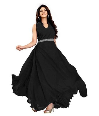 Buy Black georgette Plain semi stitiched party wear gowns Online