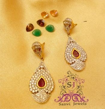 Diamond look Changeable Earrings