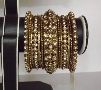 Antique Bangle Set in Bronze with Kundan & Diamonds