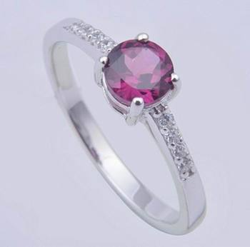 Rhodolite Garnet Gemstone Ring In Sterling Silver