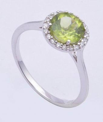 Sterling Silver Ring With Peridot Gemstone For August Birth Month