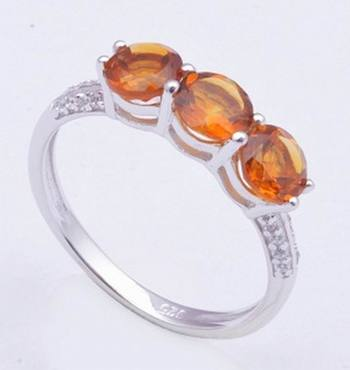 Sterling Silver Ring With Citrine Gemstone Rings