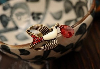 Morcrest Red Crystal Swallow Ring
