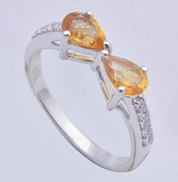 Silver Ring With Citrine Gemstone Rings