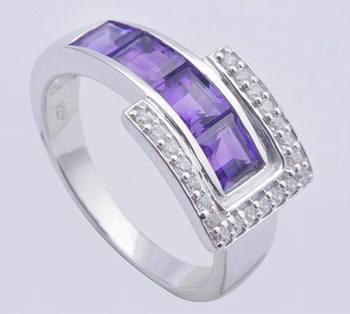 Amethyst Gemstone Silver Ring With Cubic Zircon