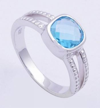 Sterling Silver Ring With Topaz Gemstone