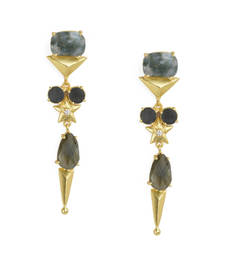 Golden Earrings with  Labrorite Black Onex Stone
