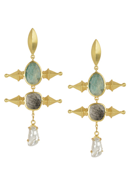 Golden Earrings with Green Aventurine  Black Rutial and Viva Pearl