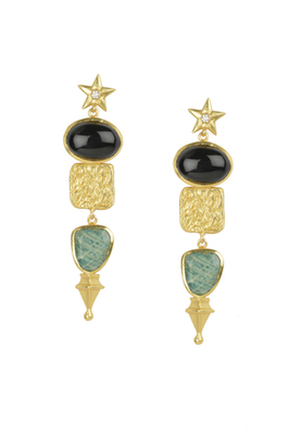 Golden Earrings with Balck Onex and Amzonite Stone
