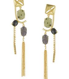 Golden Earrings with Labrorite Graymoon And Black Onex Stones