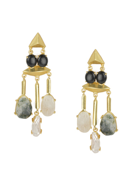 Golden Earrings with Black Onex Labrorite Viva Pearl and Lef Rainbow Stones
