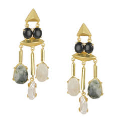 Golden Earrings with Black Onex Labrorite Viva Pearl and Lef Rainbow Stones