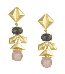 Golden Earrings with Labrorite Pink Opal Stones