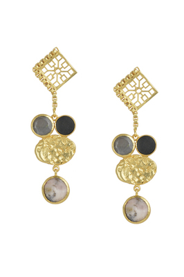 Golden Earrings  with Gray Moon and Black Onex Pink Opal Stones