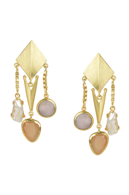 Golden Earrings with Pink Opal and Baige and  Viva Peal Stones
