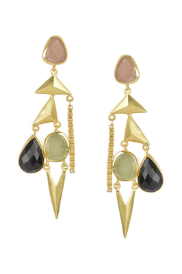 Golden Earrings with Baige Balck and Perinite Stones