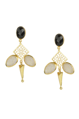 Golden Earrings with Black Onex Rainbow Stones