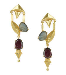Golden Earrings with Top Labrorite Botom- Red Glasss Stones