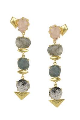 Golden Earrings with Pink Moon Black Rutial Labrorite and Black Rutial Stones