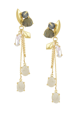 Golden Earrings with Iolite Barorite Viva Pearl  White Moon Stones