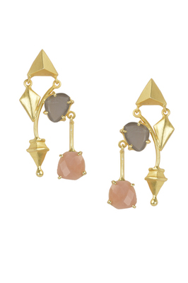 Golden Earrings with Gray Moon Pink Opal Stones
