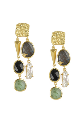 Golden Earrings with Right  Black Onex and Green Aventurine Left Black Onex and Viva Pearl Stones