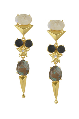 Golden Earrings with Rainbow Black Onex Labrorite