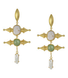 Golden Earrings with Top Pink Opal Middle Green Aventurine Bottom Viva Pearl Stone