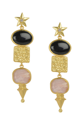 Golden Earrings  with Top  Black Onex Bottom Pink Opal Stone