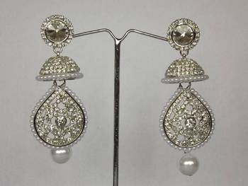 Dazzling Diamond Danglers with Pearls