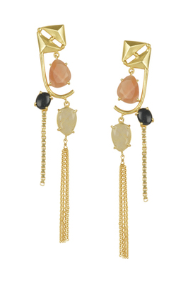 Golden Earrings with Pink Opal Black Onex  Golden Rutial