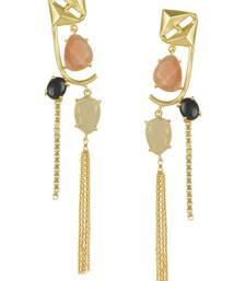 Golden Earrings with Pink Opal Black Onex  Golden Rutial