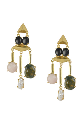 Golden Earrings with Top Black Onex Bottom Right Labrorite Middle  Viva Pearl Bottom Left  Rosequartz Stone