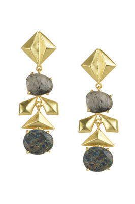 Golden Earrings with Black Rutial Labrorite Stones