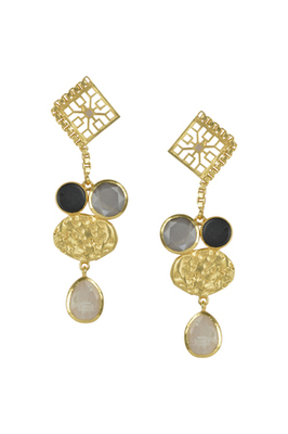 Golden Earrings with Black Onex and Gray Moon Rainbow Stones