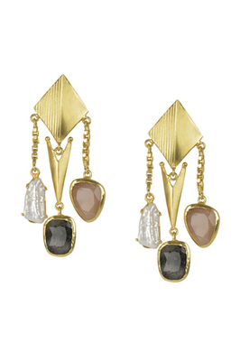 Golden Earrings with Baige  Labrorite Viva Pearl  Stones