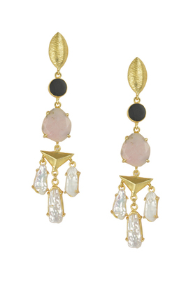 Golden Earrings with Black Onex Pink Opal Viva Pearl Stones