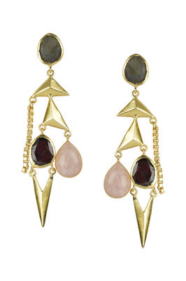 Golden Earrings with Labrorite Garnet and Pink Opal Stones