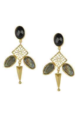 Golden Earrings with Black Onex and  Labrorite Stones