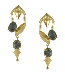 Golden Earrings with All  Labrorite Stones
