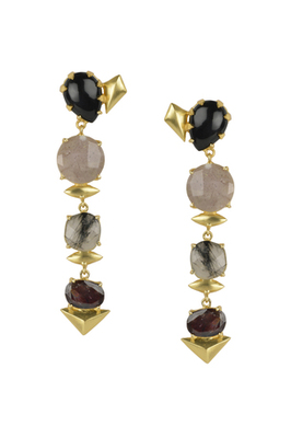 Golden Earrings with Black Onex Stones