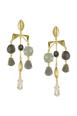 Golden Earrings with Black  Labrorite Labrorite  Black Onex Green Aventurine andLabrorite Stones