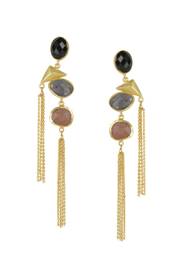 Golden Earrings with Black Onex Labrorite Baige Stones