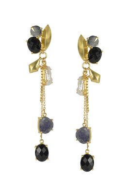 Golden Earrings with Howiolite and black onex Stones